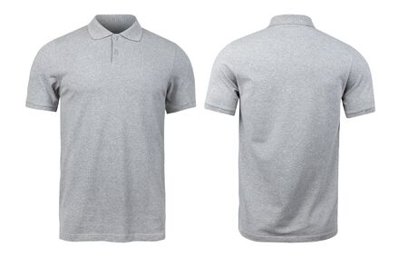 Grey polo shirts mockup front and back used as design template, isolated on white background Zdjęcie Seryjne - 150279214