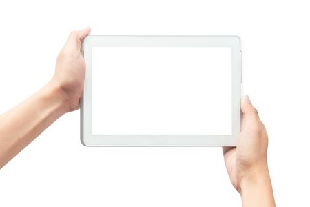 Male hand holding the white tablet pc computer with blank screen isolated on white background 版權商用圖片 - 150279215