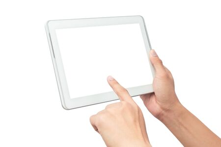 Male hand holding the white tablet pc computer and touching with blank screen isolated on white background