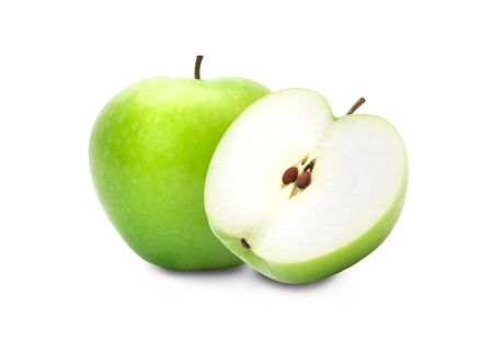 Green apple and half isolated on white background 版權商用圖片 - 150279351