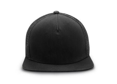 Black snapback cap isolated on white background Zdjęcie Seryjne - 150279352