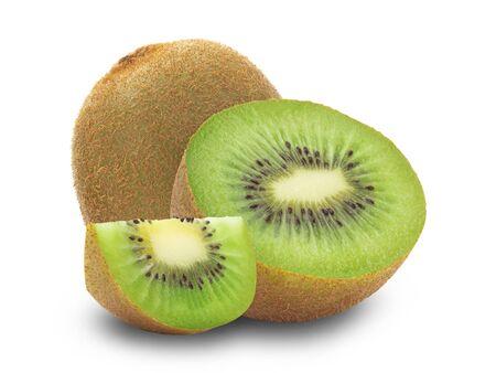 Ripe whole kiwi fruit and half and slice isolated on white background 版權商用圖片
