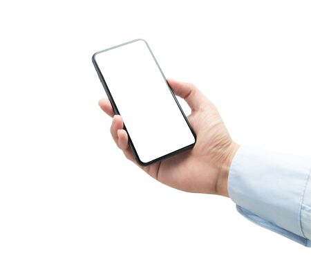 Businessman holding the black smartphone with blank screen isolated on white background