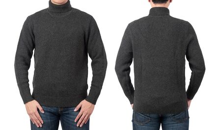 Male model wear plain grey sweater or long sleeve t-shirt mockup template isolated on white background , front and back view.