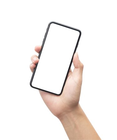 Male hand holding the black smartphone with blank screen isolated on white background 版權商用圖片 - 150279402
