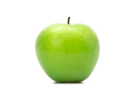 Ripe whole green apples isolated on white background