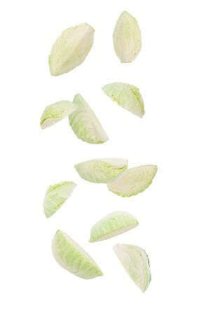 Cutted green cabbage falling isolated on white background 版權商用圖片 - 150279469