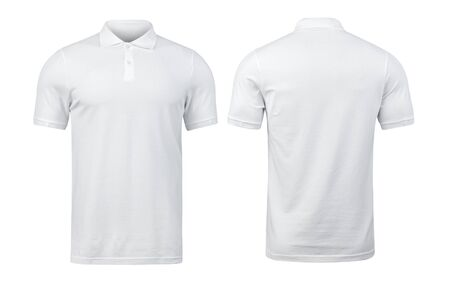 White polo shirts mockup front and back used as design template, isolated on white background Standard-Bild