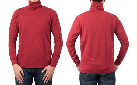 Male model wear plain red long sleeve t-shirt mockup template isolated on white background