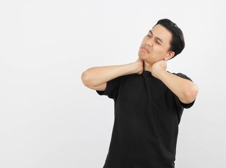 Young handsome asian man neckache isolated on white background.