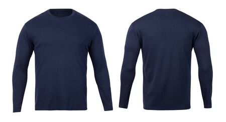Navy long sleeve t-shirt front and back view mock-up isolated on white background with clipping path.