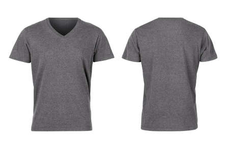 Gray woman v-neck t-shirts front and back isolated on white background