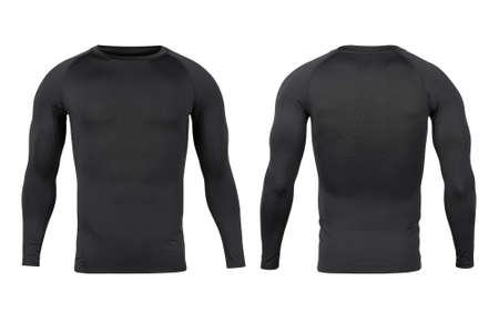 Black sport base layer longsleeve t-shirt front and back mock-up template for your design. Zdjęcie Seryjne