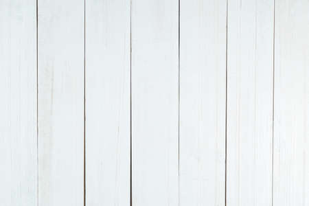 White wood texture background, wooden table top view.
