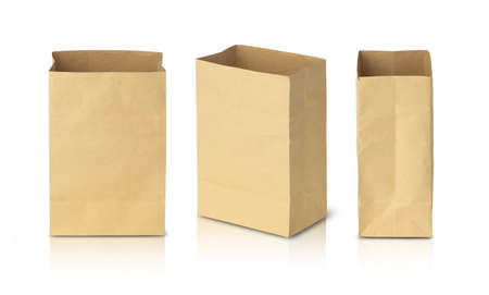 Recycled brown paper bags isolated on white background