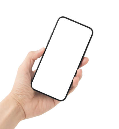 Man hand holding the black smartphone with blank screen isolated on white background