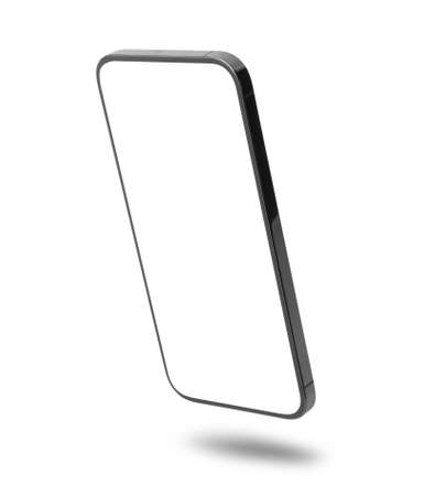 Black mobile smartphone mockup with blank screen isolated on white background 版權商用圖片