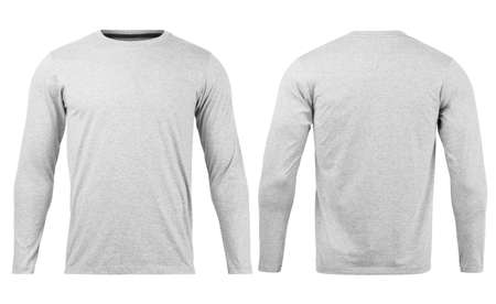Grey T shirt long sleeves mockup front and back used as design template, isolated on white background with clipping path. 免版税图像