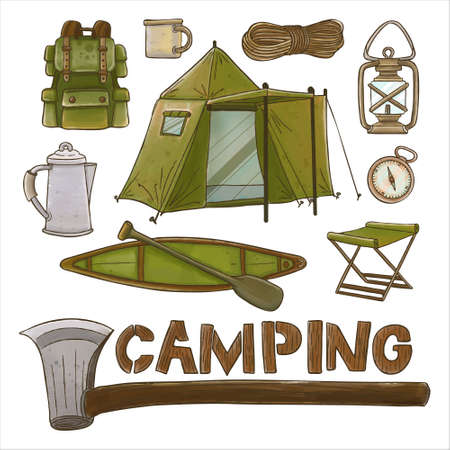 Set of watercolor painted camping supplies clipart. Hand drawn isolated on white background. Иллюстрация