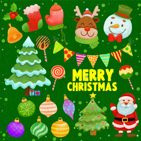 Set of watercolor painted Christmas decoration, Festive clipart. Hand drawn isolated on white background. Иллюстрация