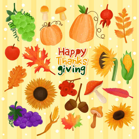Set of watercolor painted Thanksgiving decoration, Festive clipart. Hand drawn isolated on white background.