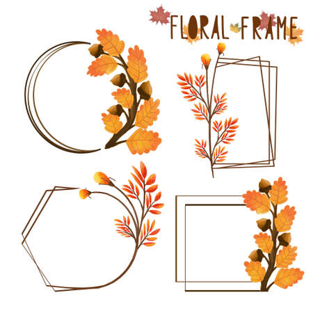 Set of watercolor painted Autumn Leaf Frame, Leaves clipart. Hand drawn isolated on white background. Иллюстрация