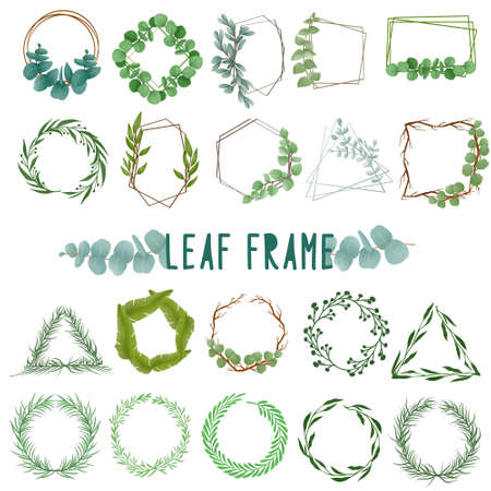 Set of watercolor painted Leaf Frame, Green leaves clipart. Hand drawn isolated on white background. Иллюстрация