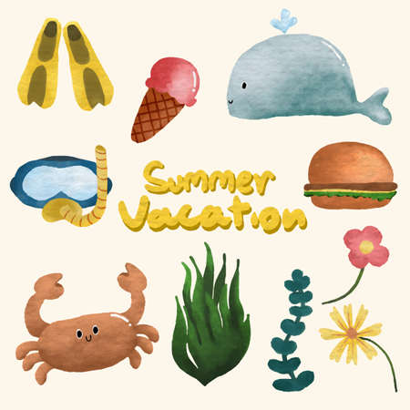 Set of watercolor painted Vacation Decoration, Summer clipart. Hand drawn isolated on white background.