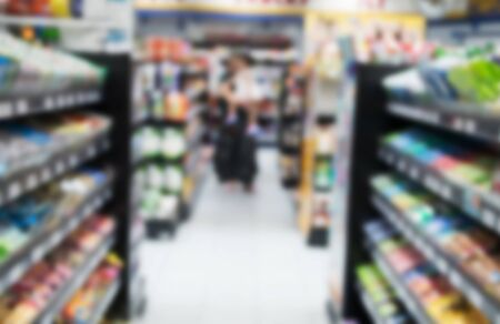 blurred image abstract minimart convenience store Stock Photo