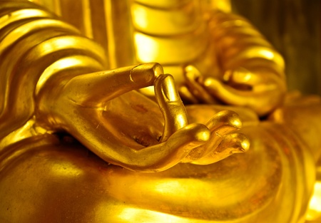 close up of the right hand of buddha statue in action of meditation photo