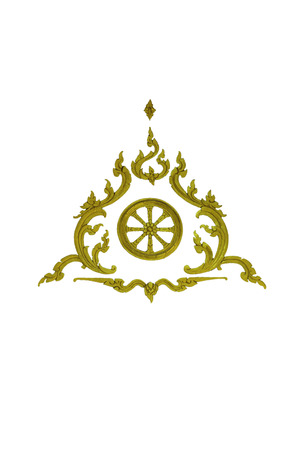thai traditional golden pattern on white  photo