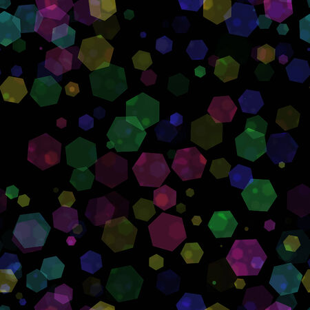 design of abstract   shiny  colorful hexagon  bokeh  on  black   background photo