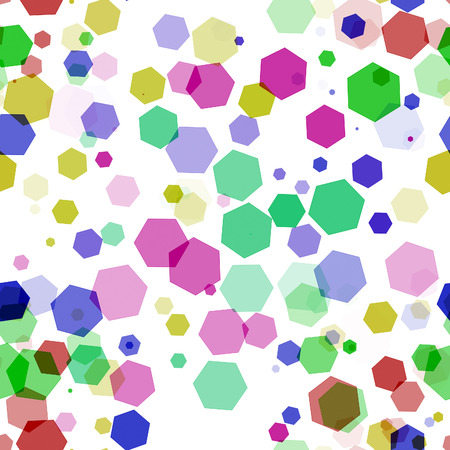 design of abstract   shiny  colorful hexagon bokeh  on white  background photo