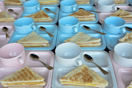 many  grilled  ham and cheese  sandwichs   for serving