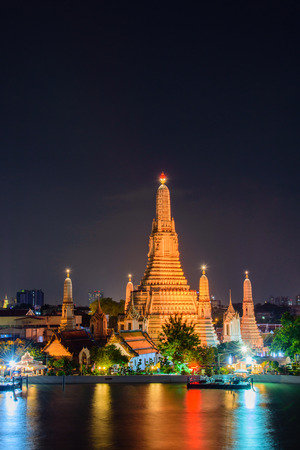 Arun temple (Wat Arun), famous tourist attraction in night time  ; famous cultural landmark in Bangkok  Thailand.