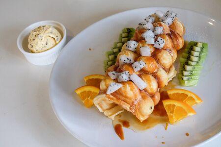 fruity: Fruity Waffles Stock Photo