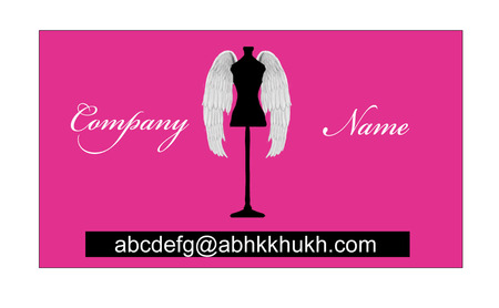archangel: Name Card Pink squared with Angel wings Mannequin