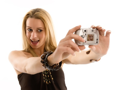 Beautiful girl takes a self portrait Stock Photo