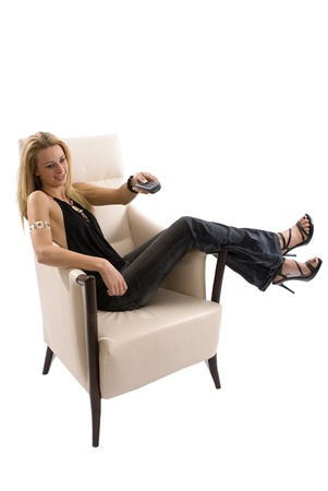 Watching TV in chair