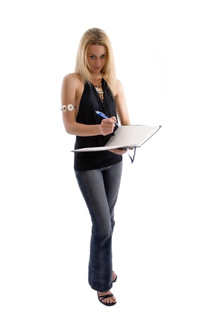 Casual dressed woman with her diary