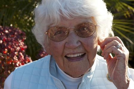 Portrait of an elderly woman smiling