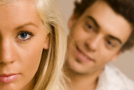 Close up portrait of a young couple