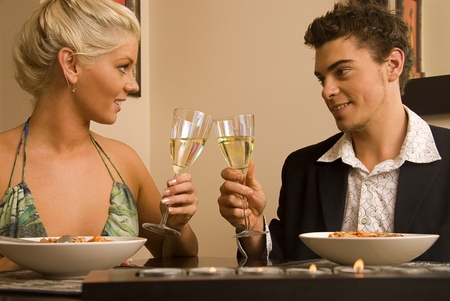 Attractive couple enjoying a meal