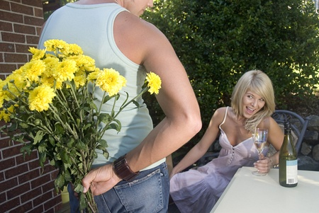 Bringing home flowers to his girl friend