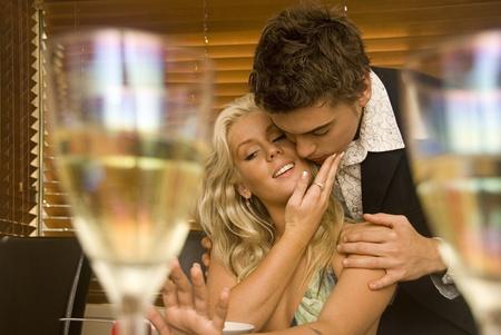 Wedding proposal at a restaurant