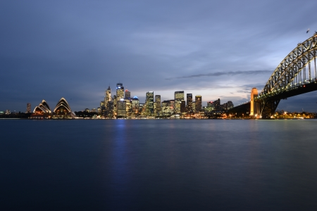 sydney harbour: Sydney skyline at sunset