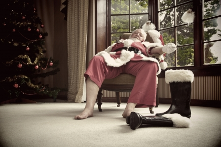 Santa rests after his big night photo