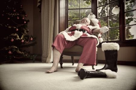 Santa rests after his big night