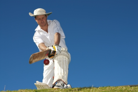 Cricketer in action