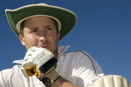 cricketer: Portrait of a cricketer Stock Photo